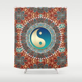 Bohemian Batik Yin Yang Shower Curtain
