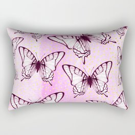 butterfly pattern on pastel pink Rectangular Pillow