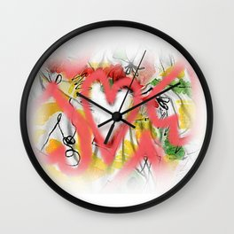 Pink hearts Wall Clock
