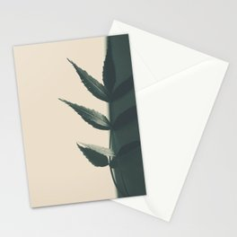 minimal art with aleave in black and white Stationery Cards