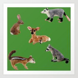 Backyard Critters in Green Art Print
