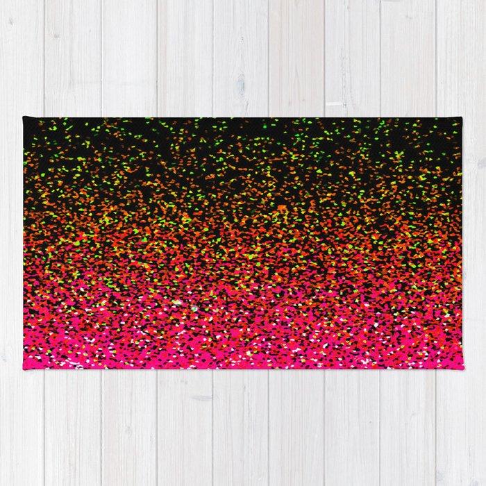 Confetti Glitter Sparkle Splatter Pink Orange Yellow Rug