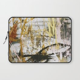 Armor [9]:a bright, interesting abstract piece in gold, pink, black and white Laptop Sleeve