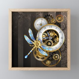 Dials with Dragonfly ( Steampunk ) Framed Mini Art Print