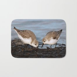 A Pair of Sanderlings Shares: A Meal is Better When Eaten Together Bath Mat