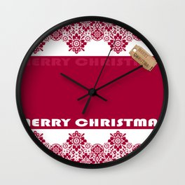 Merry Christmas ! Red lace pattern .Gift . Wall Clock