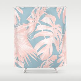 Island Love Millennial Pink on Pale Teal Blue Shower Curtain