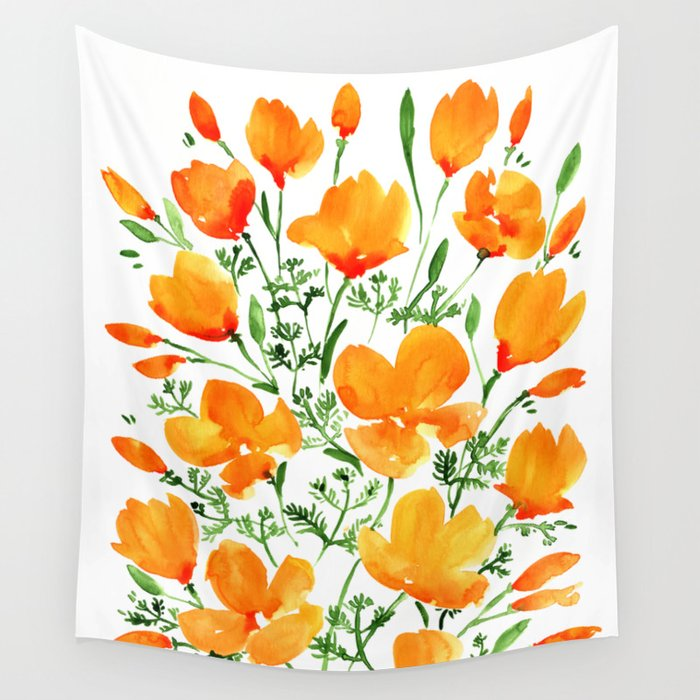 Watercolor California poppies Wall Tapestry