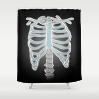 sam winchester Shower Curtains featuring [ Supernatural ] Sam Dean Winchester Castiel Ribs  by Vyles