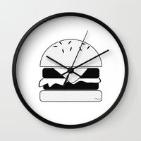 burger Wall Clocks featuring Burger  by Keep It Simple