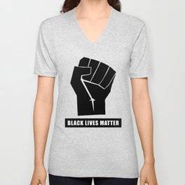 Oakland California 1971 Black Power Fist with Black Lives Matter, White Text Super Sharp PNG (4x3) Unisex V-Neck