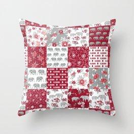 Alabama bama crimson tide quilt pattern florals football varsity alumni Throw Pillow