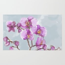 Watercolor Orchids Rug