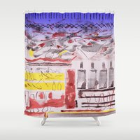 bread Shower Curtains featuring Daily Bread by Andooga Design