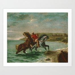 "Eugène Delacroix ""Horses Coming Out of the Sea"" Art Print"