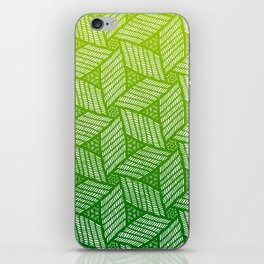 Japanese style wood carving pattern in green iPhone Skin