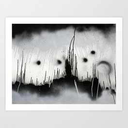 Black and White Splatter Art Print