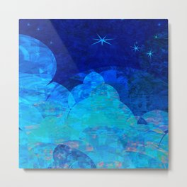 Deep Blue Night Sky Glow Metal Print