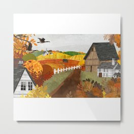 Autumn Village Metal Print