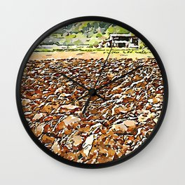 Hortus Conclusus: clods of earth and farmhouse Wall Clock