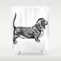 the hound Shower Curtains featuring Basset Hound by Alice&Tao