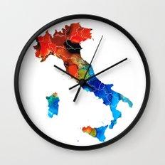 Italy - Italian Map By Sharon Cummings Wall Clock