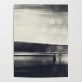 Walking Together - Couple taking a beach stroll Poster