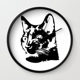 Black cat with big eyes Wall Clock