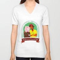 vegan V-neck T-shirts featuring Vegan by Bakal Evgeny