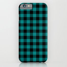 Simple Teal and Black Buffalo Plaid iPhone Case