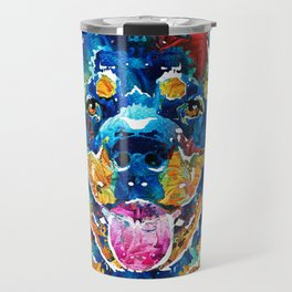 Colorful Rottie Art - Rottweiler by Sharon Cummings Travel Mug