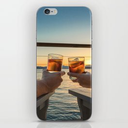 Sailing sunset couple toasting iPhone Skin