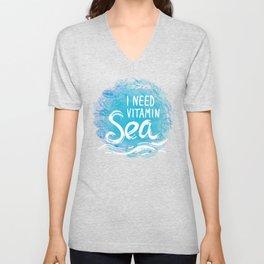 i need vitamin sea White text on blue background, Summer sea shells, molluscs Unisex V-Neck