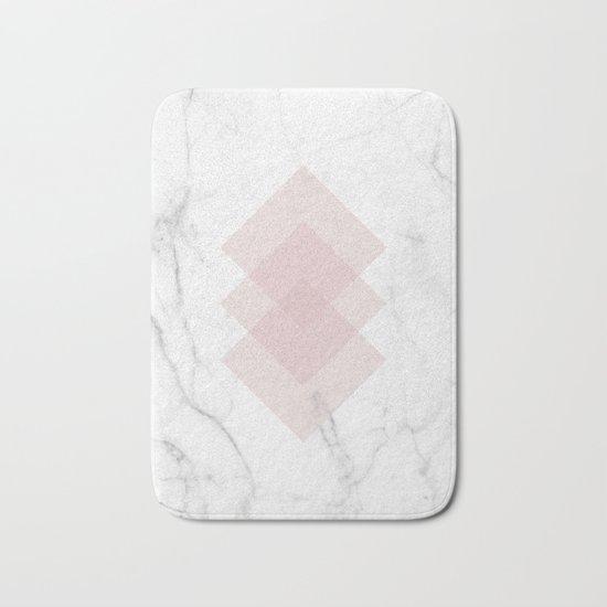 White Marble Scandinavian Geometric Blush Pink Squares Bath Mat