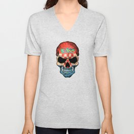 Dark Skull with Flag of Croatia Unisex V-Neck