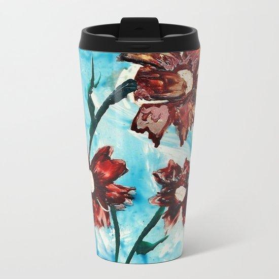 Brown flowers Metal Travel Mug