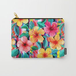 OTT Maximalist Hawaiian Hibiscus Floral with Stripes Carry-All Pouch