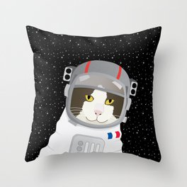 1963: France Blasted the First Cat into Outer Space Throw Pillow
