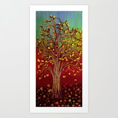 Abstract Fall tree Art Print