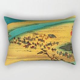 Fording the River at Shimada Japan Rectangular Pillow