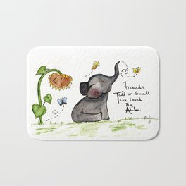 Friends are Loved by All - Baby Elephant Sunflower Butterflies Art by Annette Bailey Bath Mat