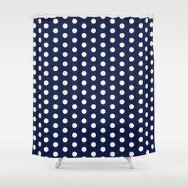 Navy Blue Polka Dots Minimal Shower Curtain