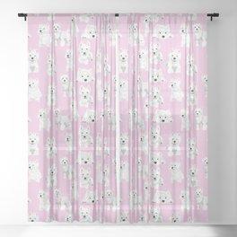 Westies on pink Sheer Curtain