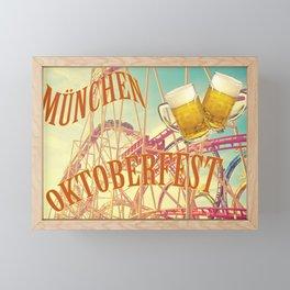 Oktoberfest, famous beer festival in Munich: roller coaster and beer. Skoal! Framed Mini Art Print