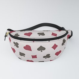 Suit (Card) Pattern -  Red & Black Spades, Hearts, Diamonds and Clubs Fanny Pack