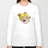 popeye Long Sleeve T-shirts featuring Popeye the Sailor Moon by unluckyxiii