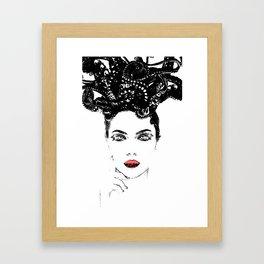 La femme Medusa white Framed Art Print