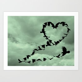 Heart of Crows Black Bird Raven Teal A276 Art Print