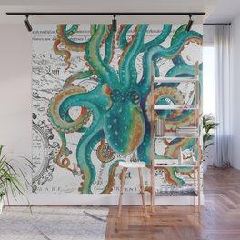 Teal Octopus Tentacles Vintage Map Nautical Wall Mural