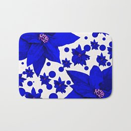 Poinsettia Blue Indigo Pattern Bath Mat